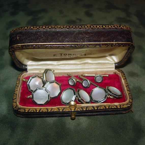 Art Deco Tuxedo Set White Abalone and Enamel Larter Cufflinks Antique Jewelry Box