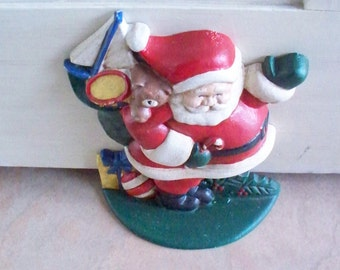 Vintage Christmas Cast Iron Santa Door Stop Santa Claus