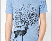 Deer Shirt Mens Unique T Shirt Animal Birds Tee Unisex American Apparel XS, S, M, L, XL 9 COLORS