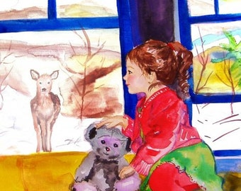 Child original watercolor painting