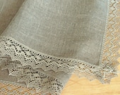 Linen Tablecloth Washed Linen Vintage Tablecloth Burlap Checked Square Natural Gray Linen Lace