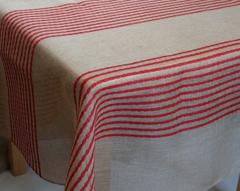 "Linen Tablecloth Natural Red Gray Stripes 77"" x 53"""