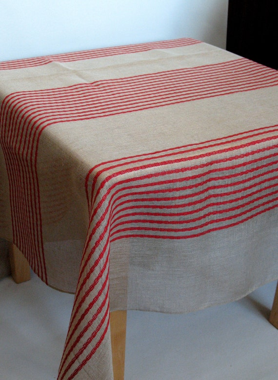 "Linen Tablecloth Natural Red Gray Stripes 82"" x 58"""