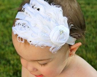 Baby Feather Headband - White Baby Headband - Baptism Headband