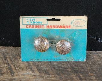 Vintage Hammered Copper with Black Cabinet Hardware Set of Knobs in Original Package David Allison Co., Inc.