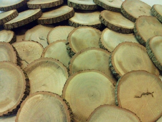 TREASURY ITEM - 25 Large Wood tree slices -  Rustic wedding decor - Crafts -  diy projects - holiday ornaments