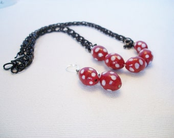 Red and White Polka Dot Necklace, Modern Pin-Up, Rock-A-Billy, Necklace Set