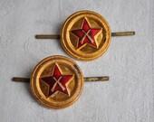 Set of 2 Vintage Soviet Russian aluminum military cockades,badges.