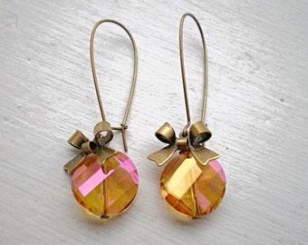 Tangerine Orange Crystal Earrings/Orange Earrings/Pink Earrings/Bow Earrings/Crystal Earrings/Bridesmaid Earrings/Boho Earrings