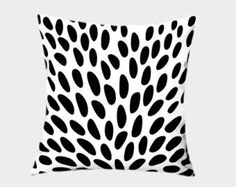 "Decorative Pillow Case, Thick White Cotton Throw pillow case with Black patterns, fits 18""x18"" insert, Toss pillow case"