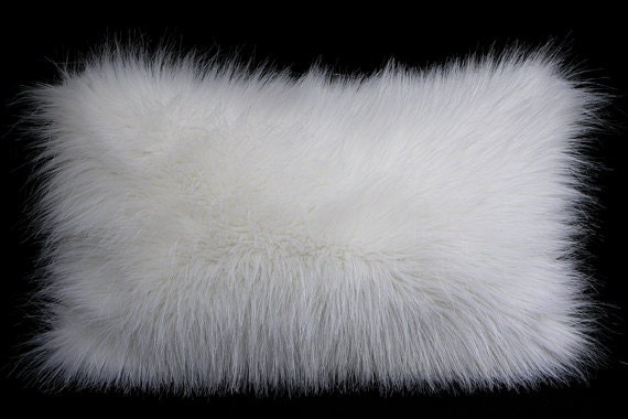 Decorative Pillow Case White Faux Fur Fabric Lumbar Pillow