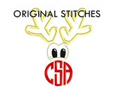 Christmas Reindeer Monogram Dressing Applique and Embroidery Digital Design File 4x4 5x7 6x10 7x11