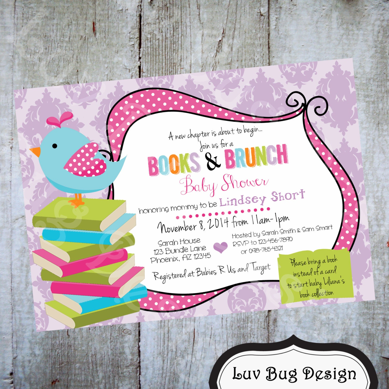books brunch baby shower invitation printable by luvbugdesign