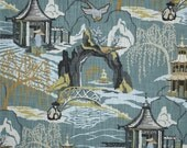 Two 26 x 26  Custom Designer Decorative Pillow Covers - Euro Shams  - Chinoiserie Neo Toile - Robert Allen - Blue/Grey/Tan/Gold
