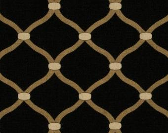 "Two 96"" x 50""  Custom   Curtain Panels - Rod Pocket Panels -  Trellis - Black"