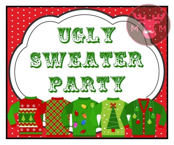 Ugly Christmas Party Sweaters: INSTANT DOWNLOAD Ugly Sweater Party Photo Booth Sign