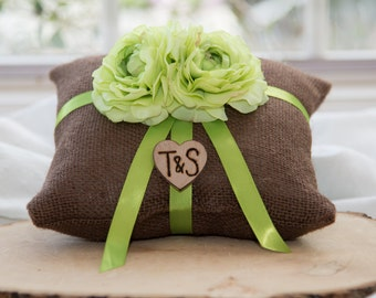 Green ranunculus flower brown burlap personalized ring bearer pillow  shabby chic with engraved initials... many more colors available