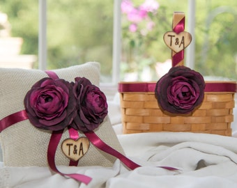 Rustic Wood flower Girl Basket and Burlap Ring Bearer Pillow Set  burgundy silk flowers Customize with your wedding colors