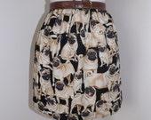 Handmade pug dog puppy high waisted skirt black dogs pugs