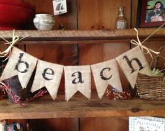 Burlap Beach Bunting, Burlap Bunting, Bunting Banner, Burlap Garland, Beach Garland, Beach House Garland, Beach House Bunting, Burlap Beach