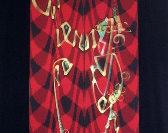 Optik Beatnik - Original Painting Art Hanging - Acrylic on Vintage Kimono Silk - Red/Black/Bronze.
