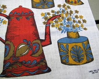 SALE Folk kitchen tea towel / coffee themed vintage new linen tea towel / country kitchen tea towel / fabric art