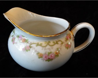 Vintage Nortake Cream Pitcher Pink Flowers