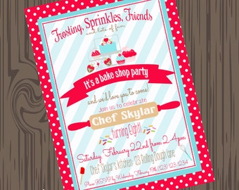 Bake Shop Invites, Printable Baking invites, DIY Bake Invites, Cupcake Birthday invites