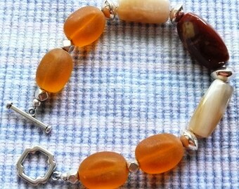 Orange Glass with Jasper and Agate Stone Bracelet
