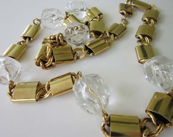 Modernist Gold tone Link Chain with Clear Lucite Stone Necklace