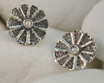 Rosette Pearl Stud Earrings, Handmade, Solid Sterling Silver
