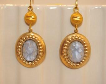 Handmade Vintage Icy Blue Bumpy Earrings