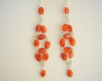 Handmade Amber Cluster Drop Earrings