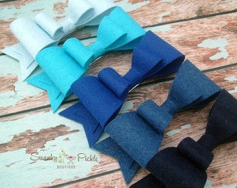 Blue Felt Hair Bow - Navy Hair Bow - Basic Hair Bow - Wool Felt - Hair Clip - Hair Barrette - French Clip - Girls Hair Bow - Womens Hair Bow