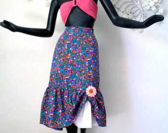 XXL Hippie Boho Skirt with Eyelet Lace Petticoat Vintage 1970s Hawaiian Skirt Prairie Peasant Blue Flowered Ruffle Hippy Festival Plus Size