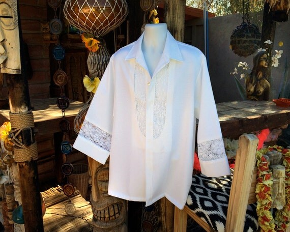 Mens Hawaiian Wedding Shirt Vintage 70s Fancy White Lace 1970s