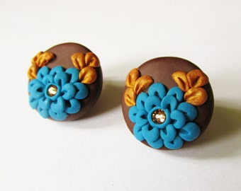 Brown Turquoise and Gold Stud Earrings, Floral Earrings