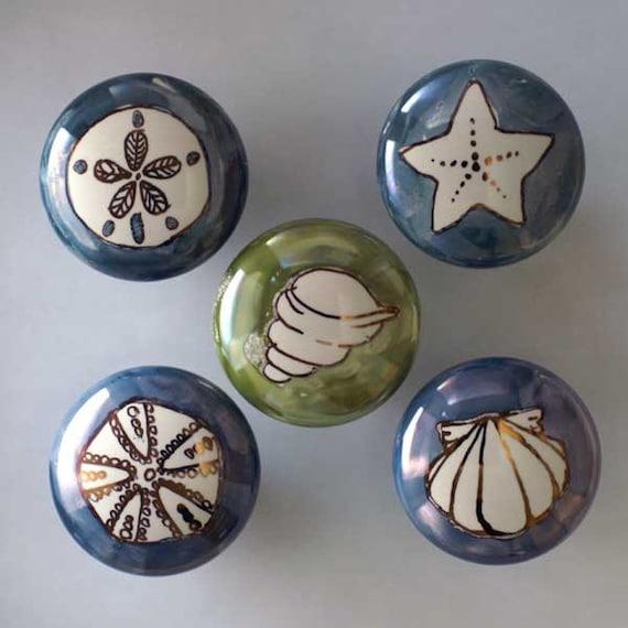 Hand painted knob custom ceramic cabinet knobs in seashore for Painted ceramic cabinet knobs
