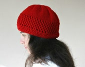 Red Knit Hat - Chunky Beanie - Oversize Beret - Christmas Gift - Fall Winter Fashion - Women Teens Accessories
