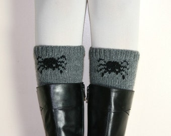 Halloween Black Spider  Grey Boot Cuffs - Gray Boot Tops - Knit Boot Socks - Fall Winter Fashion - Teens Women Accessories