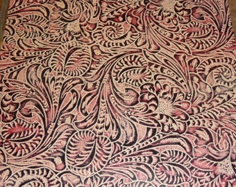 """Leather 8""""x10"""" Antique Rose WESTERN FLORAL and LEAF Tooled pattern Cowhide 3 oz / 1.2 mm PeggySueAlso"""