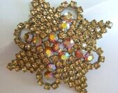 Vintage Rhinestone Brooch Pin Oversized 1950s Mad Men Estate Jewelry