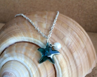 SWAROVSKI STARFISH Necklace w/ Freshwater Pearl, Silver Necklace, Swarovski Indicolite (Blue) Crystal Pendant, Beach Wedding, Choose Length