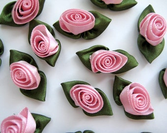 Pink Satin Ribbon Rose Buds Flower with Green leaves Appliqués for Crafting, Sewing, Doll Clothes - 1.25 inches / 30 mm, 30 pieces