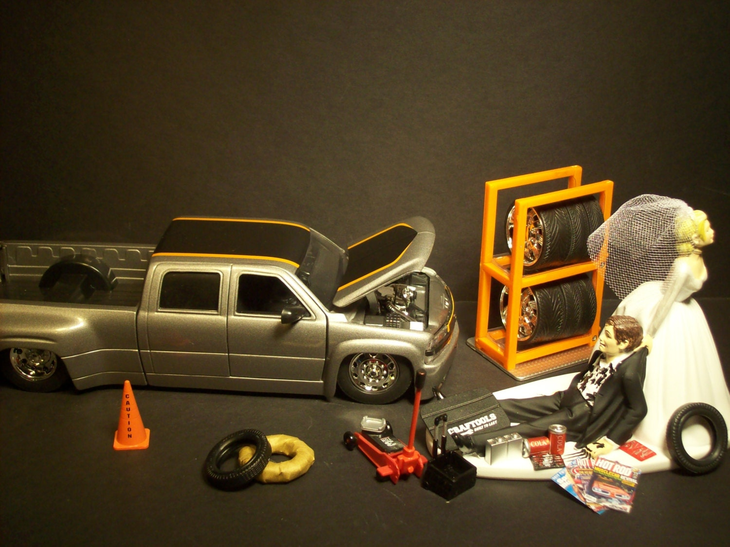 wedding cake topper with truck auto mechanic amp groom w diecast chevy silverado dooley 26664