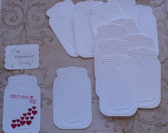 12 pc Embossed Mason Jar Die Cuts White Cardstock for DIY Bride Groom Wishes Banners Crafts Valentines Cards Tags Wish Tree Wedding Labels