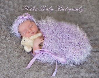 Beautiful Lavender Baby Cocoon and Headband with Flower with Pearl Accent - Amazing Texture - Very Soft