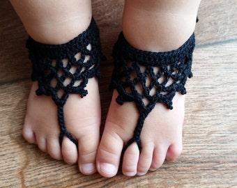 Baby Barefoot Sandals - Crochet Baby Barefoot Sandals - Baby Beach Sandals- Baby Shoes- Toddler Barefoot Sandals- Baby Girl Barefoot Sandals
