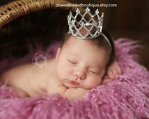 Newborn Crown Photo Prop Baby Crown Headband Newborn Princess Crown Photo Prop Baby Tiara Headband Newborn Rhinestone Crown Headband