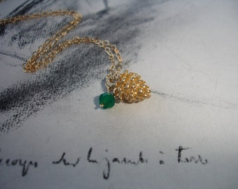 Pine Cone and Green Onyx Charm Necklace, Gold Fill, Sweet and Dainty, Winter Fashion, Woodland, Minimalist Jewelry